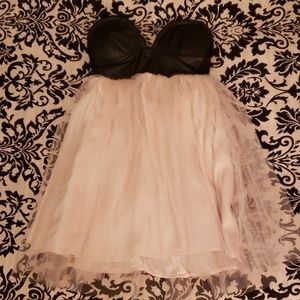 Tulle Dress with Faux Leather Bustier